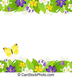 verano, fronteras, flores