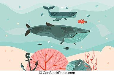 verano, gráfico, plantilla, aislado, corales, vector, ballenas, caricatura, escollos, mano, tiempo, alga, océano, fondo, ilustraciones, grande, dibujado, agua, resumen, fondo azul, ondas