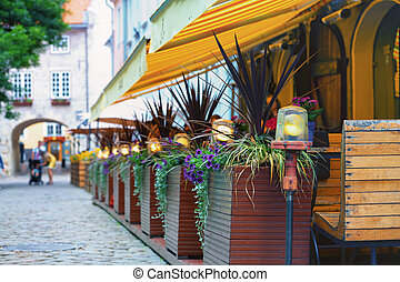 verano, histórico, restaurante, riga, centro