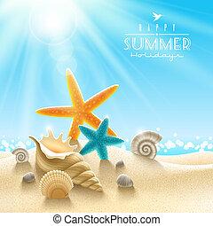 verano, ilustración, vacaciones