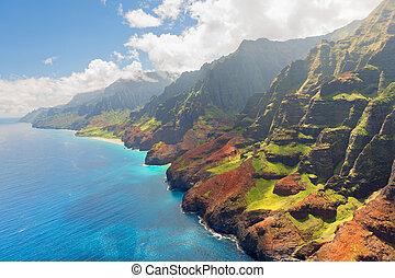 verano, isla, costa, pali, kauai, na