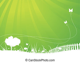 verano, mariposas, jardín, plano de fondo, primavera