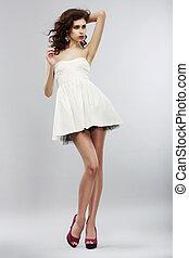 verano, mujer, dress., luz, colección, minimalism., elegante, blanco, moda, style.