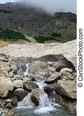 verano, neige), glaciar, pont, de, pirineos, (le