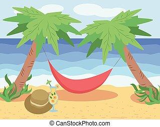 verano, palma, árbol., debajo, tropics., chaise, vacaciones de playa, longue