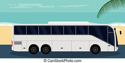 verano, plano de fondo, turista, playa, autobús
