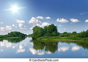 verano, river.