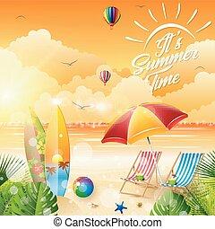 verano, su, tiempo