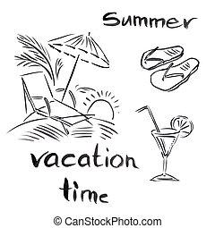 verano, temas, ilustración, negro, viajar, plano de fondo, blanco, vocación