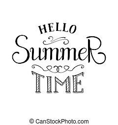 verano, vector, lettering., tiempo