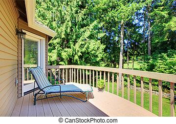 verano, yarda, espalda, árboles, pino, balcón