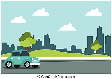 verano, zona lateral de camino, vector, ilustración