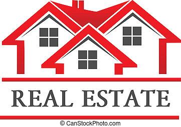 verdadero, casa, compañía, propiedad, logotipo