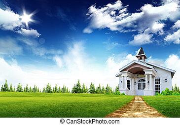 verdadero, casa de madera, dentro, propiedad, -, conceptual, casa seguro, propiedad, símbolo, caja