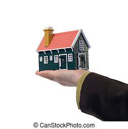 verdadero, casa, -, propiedad, mano