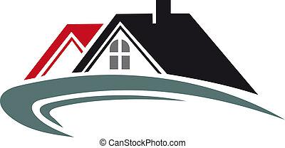 verdadero, casa, techo, propiedad, icono