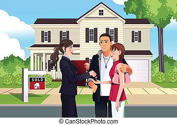 verdadero, cliente, ella, propiedad, casa, vendido, agente, frente