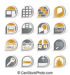 verdadero, conjunto, propiedad, iconos, -, vector, icono