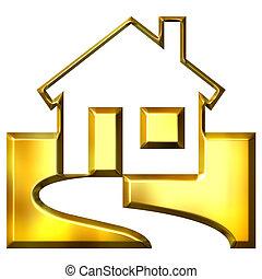 verdadero, dorado, propiedad, 3d