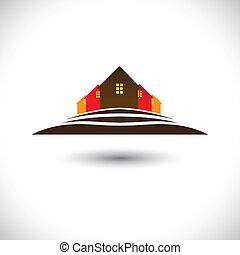 verdadero, house(home), propiedad, y, colina, residencias, mercado, icono