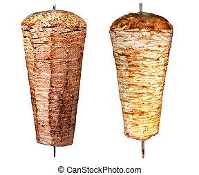 verdadero, kebab, turco, doner, fire., carbón