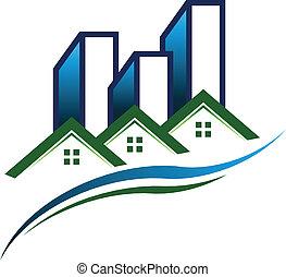 verdadero, logotipo, vector, propiedad, comunidad