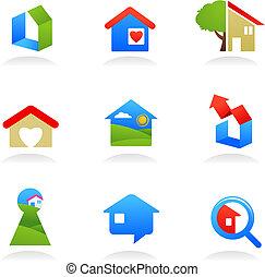 verdadero, logotipos, propiedad, /, iconos