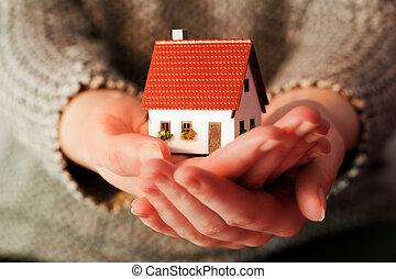 verdadero, mujer, hipoteca, ella, casa, propiedad, tenencia, pequeño, nuevo, hands.