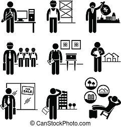 verdadero, propiedades, construcción, trabajos