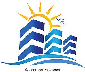 verdadero, sol, logotipo, propiedad, apartamentos