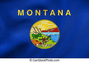 verdadero, tela, ondulación, textura, bandera, montana