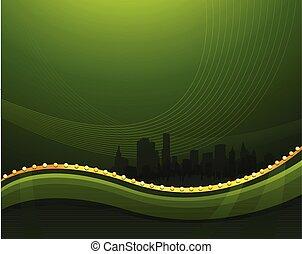 Verde abstracto agitando el fondo con paisaje urbano