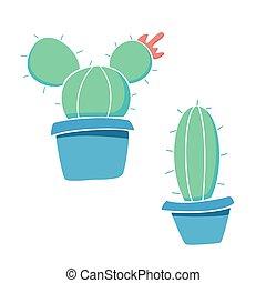 verde, aislado, pots., fondo blanco, plantas, cacto