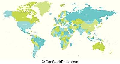 verde, blue., ilustración, vector, names., sombras, mapa del mundo, político, detalle, país, alto