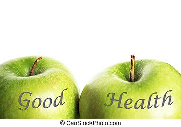 verde, buena salud, manzanas