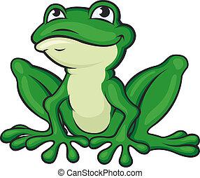 verde, caricatura, rana