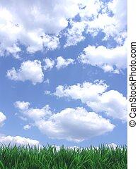 Verde cielo azul