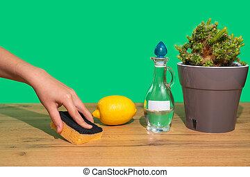 verde, de madera, ecológico, esponja, non-toxic, vinagre, limpieza, tabla, agent., natural, paños, mujer, lemon., mano, products., fondo., hogar