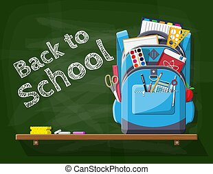 verde, escuela, pizarra, backpack.