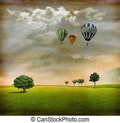 verde, globos, paisaje, árboles, aire