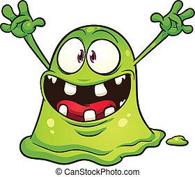 verde, gota, monstruo