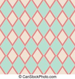 verde, menta, beige, azulejo, patrón, vector, fondo pastel, o