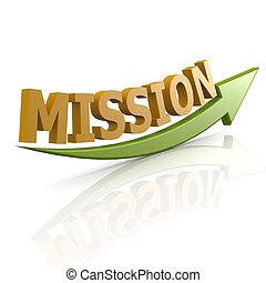 verde, palabra, misión, flecha