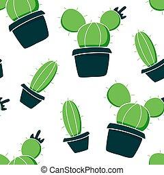 verde, pots., fondo blanco, plantas, cacto