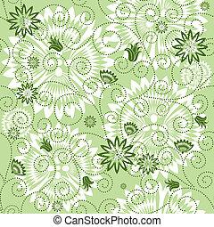 Verde repitiendo el patrón floral