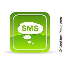verde, sms, icono