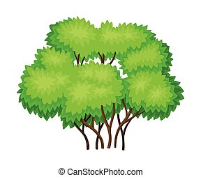 verde, tronco, árbol, ilustración, vector, follaje, exuberante