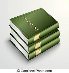 verde, vector, pila, libro, diccionario