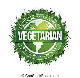 verde, vegetariano, diseño, ilustración, sello