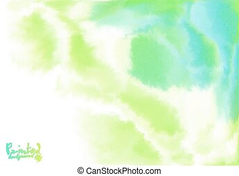 Verde y azul fondo en estilo acuarela